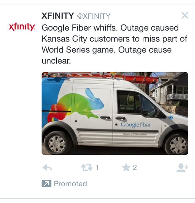"@Xfinity on twitter: ""Google Fiber whiffs. Outage caused Kansas City customers to miss part of World Series game. Outage cause unclear."""
