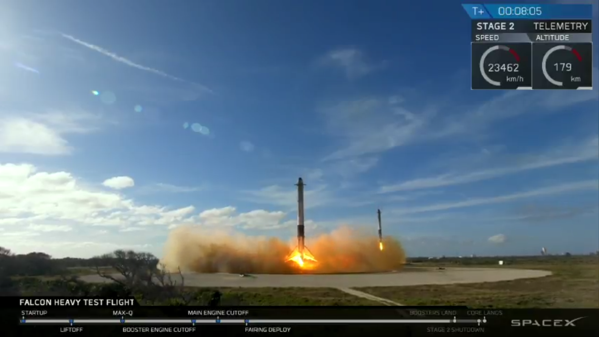 Falcon Heavy boosters landing upright