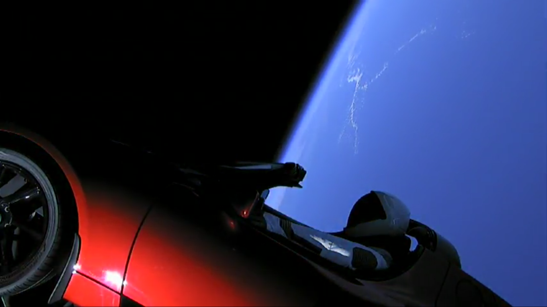 Starman in his Tesla heading to Mars