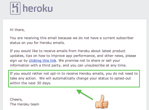 Heroku opt-out default