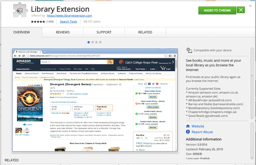 Screenshot of Library Extension download page